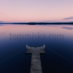 calm lake pier after sauna aerial - Arto Tommiska